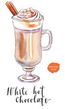 White hot chocolate. In mug decorated with whipped cream with cinnamon stick, hand drawn - watercolor vector Illustration stock illustration