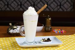 Hot white chocolate decorated with whipped cream Royalty Free Stock Photo