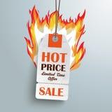 White Hot Price Sticker Silver Background. Sale sticker on the grey background Stock Photo