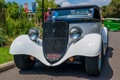 White hot rod car. At Victorian Hot Rod & Cool Rides Show in Melbourne, Australia Stock Photo