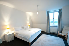 White hotel room. Interior of a hotel room in white colors Royalty Free Stock Photos