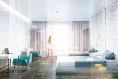 White hotel suite, beds and tables, woman stock illustration