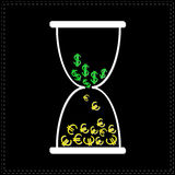 White hourglass with dollar and euro money signs. Black background Stock Photo