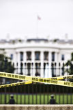 White House. Behind the police do not cross yellow line Stock Image
