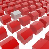 White House. White 3d house amid red ones, white surface royalty free illustration
