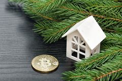 White house on a background of a green fir branch and coin Bitco Stock Images