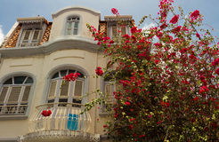 The white house with balcony and red flower bush in front of, Fo Stock Photography