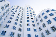 White house with blue windows, modern architecture.  Stock Images