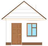 White house with brown door. Vector illustration Royalty Free Stock Image