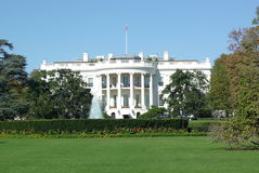 White House building. Exterior of White House building with blue sky background; Washington D.C, America stock photography