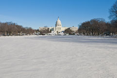 The White House building at The Mall in DC, USA. The White House building after a snow blizzard at the Mall in DC, USA Stock Images