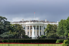 White House building in Washington DC on cloudy day. White House Washington DC view on cloudy day background Stock Photo