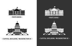 White house and Capitol building in Washington vector illustration