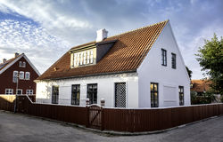 White house in the center of Skagen in jutland Royalty Free Stock Photography