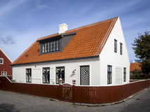 White house in the center of Skagen in jutland Stock Image