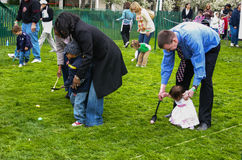 White House Egg Roll - Egg and Spoon Race - Diverse Families Stock Photo