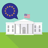 The White House with  the EU flag stars Royalty Free Stock Images