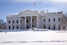 White House Flag Snow Washington DC Royalty Free Stock Images