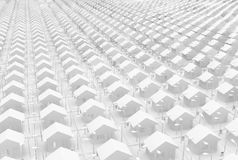 White House Grid. Small white houses many grid, 3d illustration, horizontal Royalty Free Stock Photo