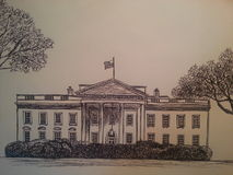 White house  hand draw. Hand draw white housel realistic Royalty Free Stock Photo