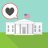 The White House with the heart poker playing card sign. Illustration of the White House with a comic balloon and the heart poker playing card sign stock illustration