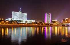 The White House, the House of the Government of the Russian Federation in Moscow. At night Stock Photos