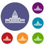 White house icons set. In flat circle red, blue and green color for web Stock Photos