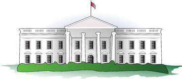 The White House. An illustration of the White House, the official residence and principal workplace of the President of the United States, located in Washington Royalty Free Stock Photo