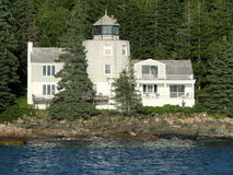 White house on an island in the Atlantic Ocean. Picture taken close to an island in the Atlantic Ocean in the vicinity of Bar Harbor Maine, USA Royalty Free Stock Images