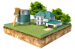 The White House and jar of paint and brush on a piece of earth. With garden and trees Royalty Free Stock Photos