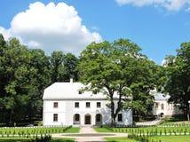 White house in Jurbarkas park, Lithuania Royalty Free Stock Photos