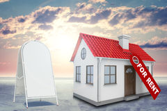 White house with label for rent, red roof, chimney Stock Photography