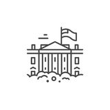 White house Line Icon. Linear illustration of a White House. Vector line style icon vector illustration