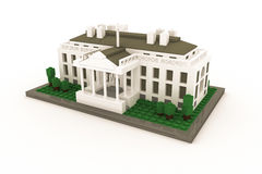 White House made of plastic bricks Royalty Free Stock Images