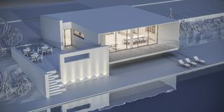House in a minimalist style. Showroom. 3d rendering. White house in a minimalist style. Showroom. 3d rendering Stock Images