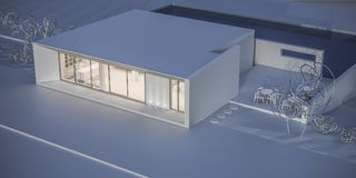 House in a minimalist style. Showroom. 3d rendering. White house in a minimalist style. Showroom. 3d rendering Royalty Free Stock Photos