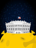 White house in moon. US President Residence in space. American N Stock Images