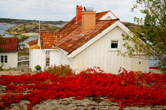 White house near fjord Kragero, Portor Stock Photo