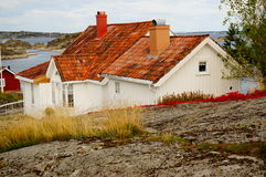 White house near fjord Kragero, Portor Stock Images