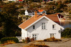White house near fjord Kragero, Portor Royalty Free Stock Photo