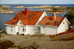 White house near fjord Kragero, Portor Stock Image
