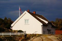 White house near fjord Kragero, Portor Stock Image