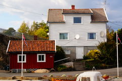 White house near fjord Kragero, Portor Stock Photos
