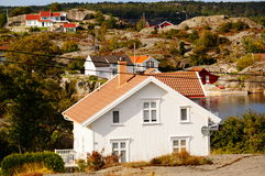 White house near fjord Kragero, Portor Royalty Free Stock Images