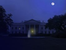 White House at Night. A view of the North entrance to the white house in Washington, D.C. at night with a full moon Royalty Free Stock Images