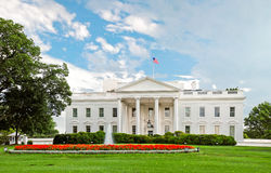 White House North Lawn Panorama. A panorama photo of the White House and its north lawn. Photo taken from the Pennsylvania Avenue Stock Photos