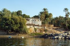 Typical white houses of a Nubian village surrounded by palm trees near Cairo Egypt and on the banks Stock Photo