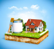 White house. And  paint can with brush on a piece of earth with garden and trees. Unusual illustration Royalty Free Stock Images