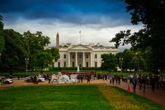White House With Protestors in the Road Royalty Free Stock Photo