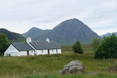 White house at Rannoch Moor Stock Photo
